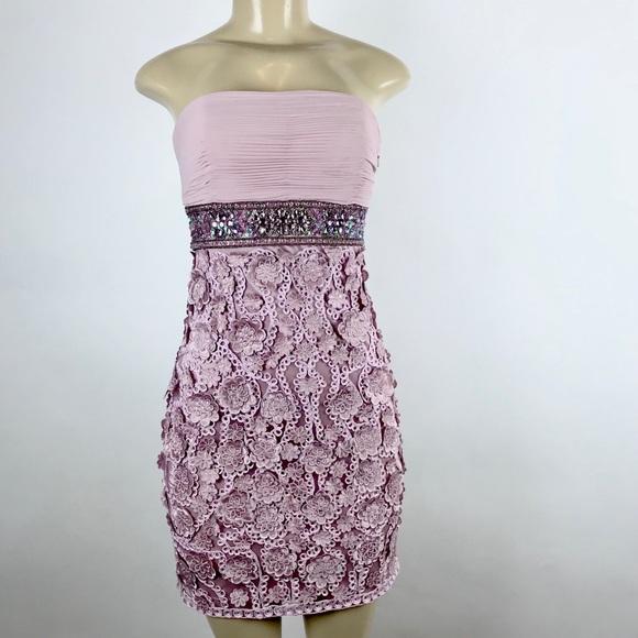 c871a976c30 Sue Wong Women Mini Embroiled Strapless Dress